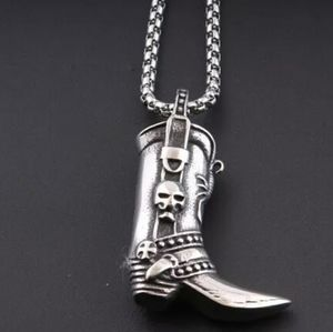 Boot with skull solid stainless steel